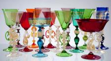 Venetian goblets glasses Antichi Angeli Murano glass artistic works