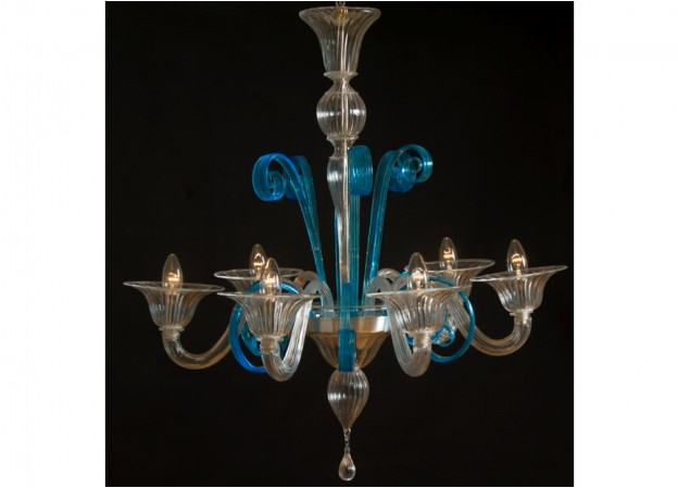 Handicraft Venetian chandelier AQUAMARINE Murano glass artistic works