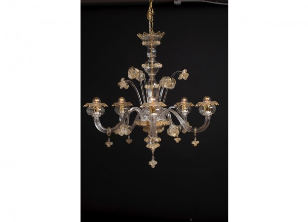 Handicraft Venetian chandelier ASFODELO Murano glass artistic works