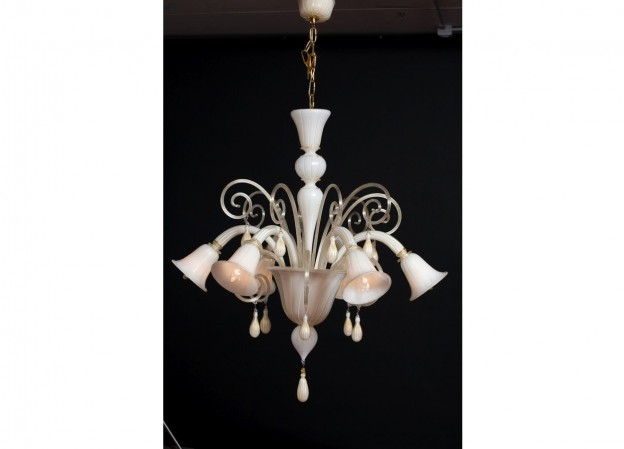 Handicraft Venetian chandelier BLANCO Murano glass artistic works