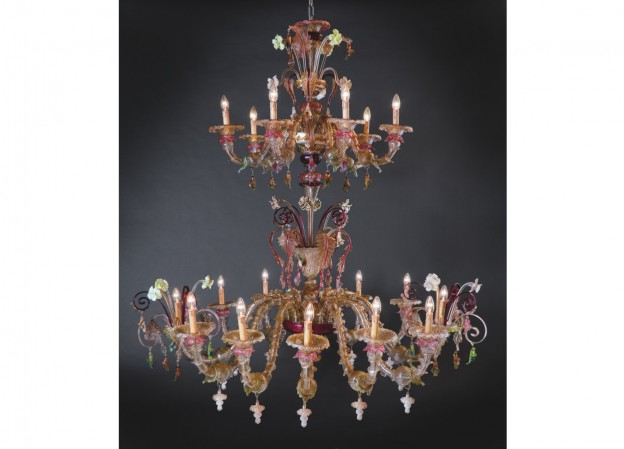 Handicraft Venetian chandelier CADORO Murano glass artistic works