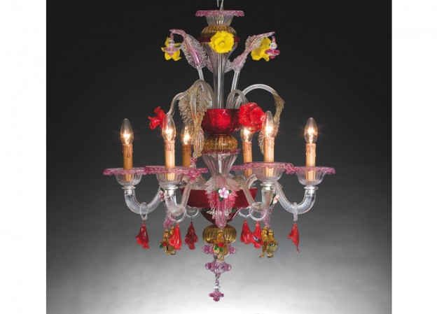 Handicraft Venetian chandelier FOSCARI 2 Murano glass artistic works