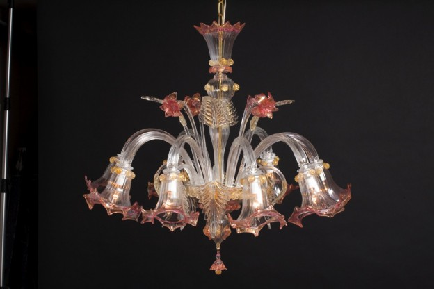 Handicraft Venetian chandelier LILIUM Murano glass artistic works