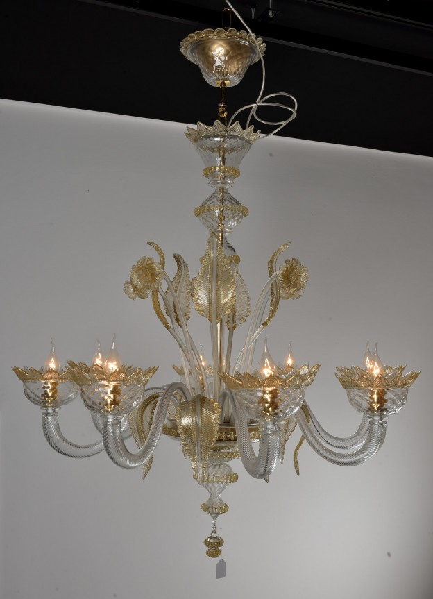 Handicraft Venetian chandelier model CLASSICO Murano glass artistic works