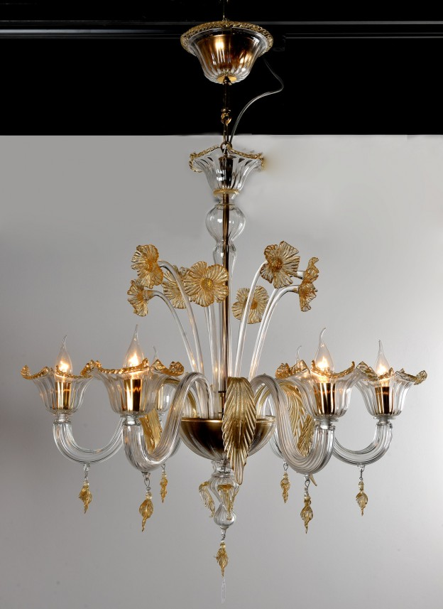 Handicraft Venetian chandelier model GERANIO Murano glass artistic works