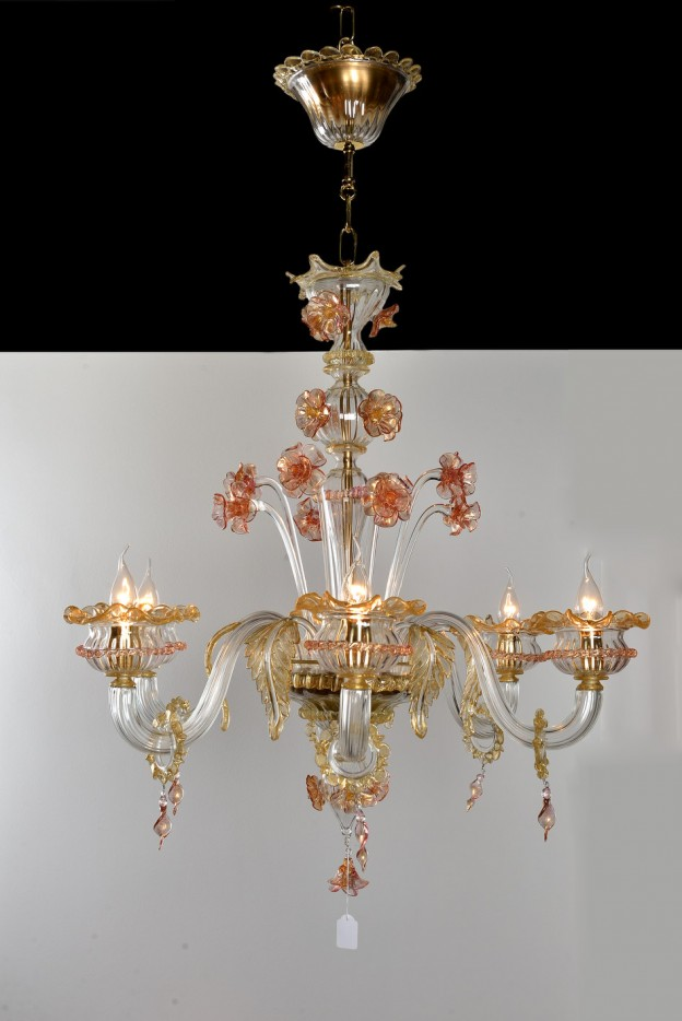 Handicraft Venetian chandelier model PRIMULA Murano glass artistic works