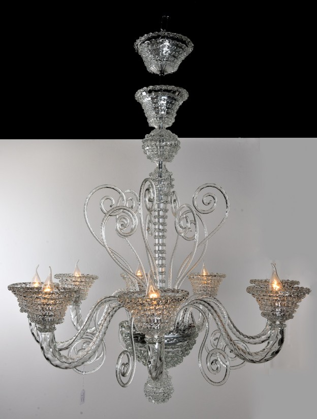 Handicraft Venetian chandelier model ROSTRATO Murano glass artistic works
