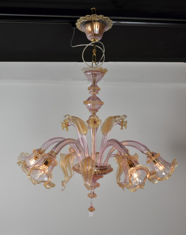 Handicraft Venetian chandelier model VIOLA Murano glass artistic works