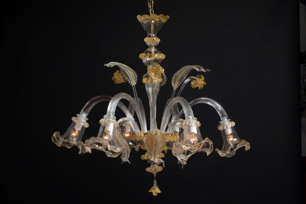 Handicraft Venetian chandelier NINFEA Murano glass artistic works