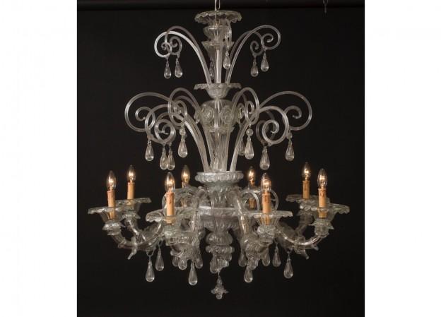 Handicraft Venetian chandelier REZZONICO SanMarco Murano glass artistic works