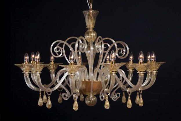 Handicraft Venetian chandelier ALTHEA Murano glass artistic works