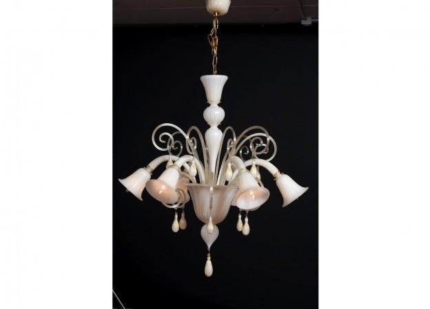 Handicraft Venetian chandelier BLANCO Murano glass artistic works