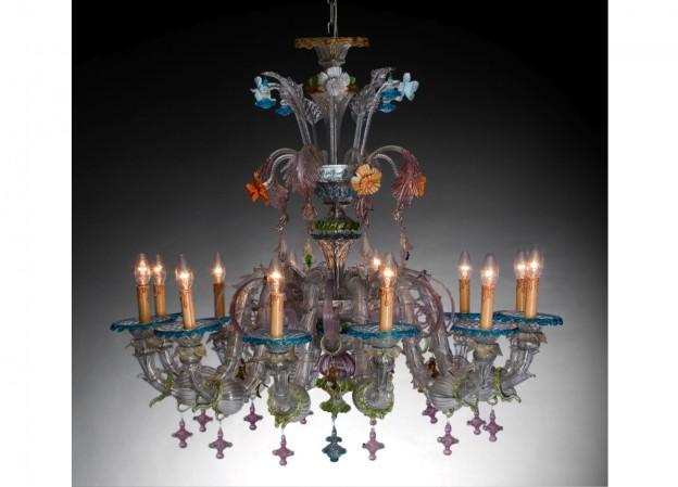 Handicraft Venetian chandelier CAMERLENGO 4 Murano glass artistic works