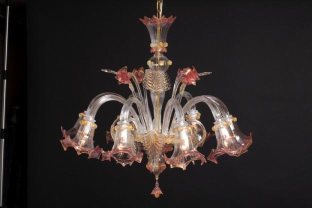 Handicraft Venetian chandelier LILIUM Murano glass artistic works