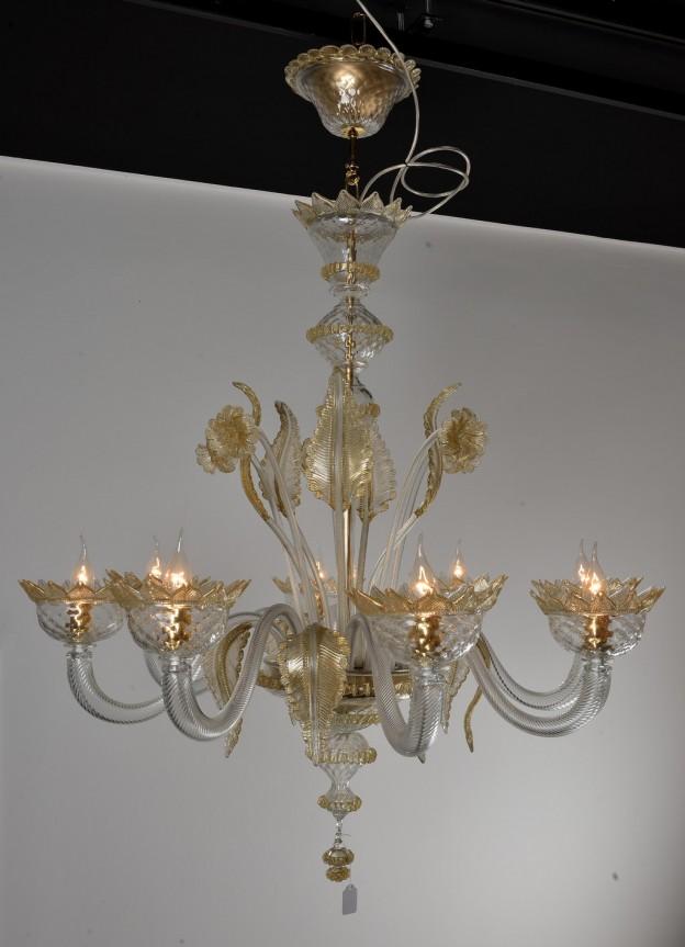 Handicraft Venetian chandelier model CLASSICO Murano glass artistic works