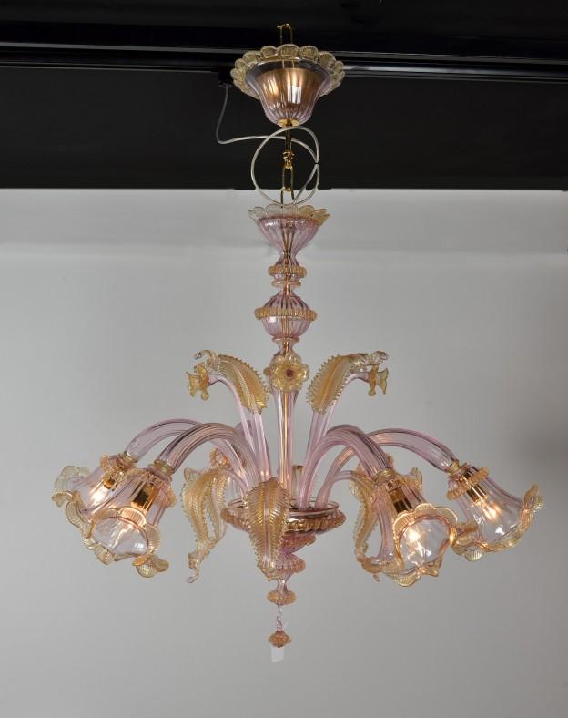 Handicraft Venetian chandelier model VIOLA Murano glass artistic works